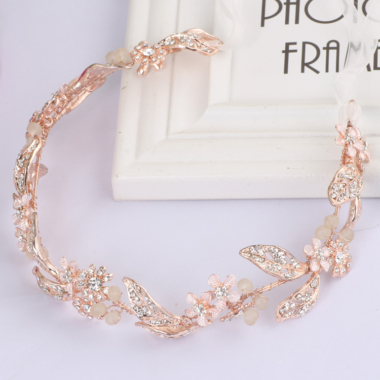 Rose Gold Wedding Headband Tiaras Leaf and Flower With Rhinestone Bridal Hair Vine Dancing Headdress Photo Prop Headpiece
