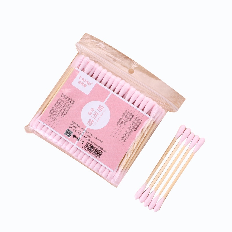 100Pcs Eco-Friendly bamboo Stick Cotton Buds Dry Cotton pink Swabs