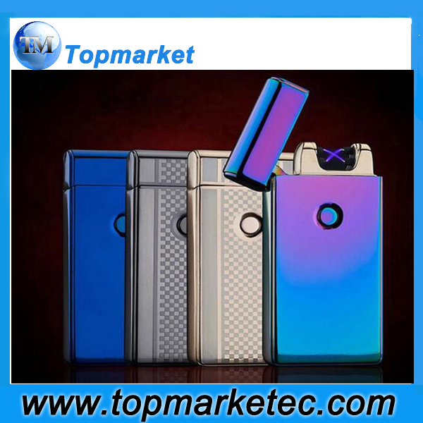 Double Arc Charging Lighter Polishing Color Ice USB Cigarette luxury Lighter Men Gift business Lighters