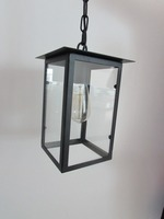 black simple style glass box pendant light with glass box