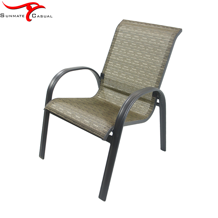 Outdoor Furniture Garden High Back Aluminum Sling Stacking Dining Chair,Textilener Fabric Chair