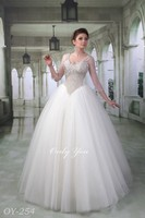 2015 Ball Gown Soft Tulle wedding dress with Emroidered Lace Sequins Beads Crystals Boat Neck 3/4 Sleeves