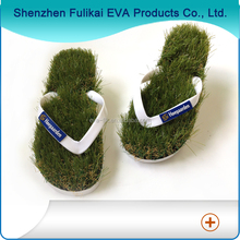 Custom design fashion artificial grass flip flops, EVA beach slippers