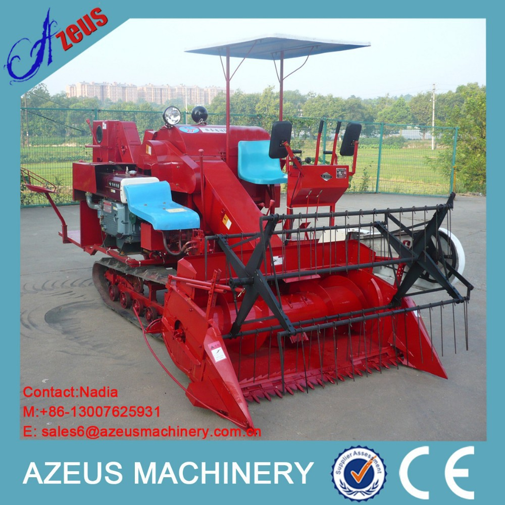 Mini walking type wheat small rice combined harvester
