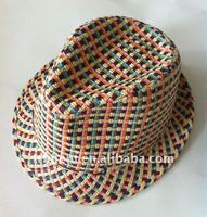 Rainbow paper straw girl fedora hat