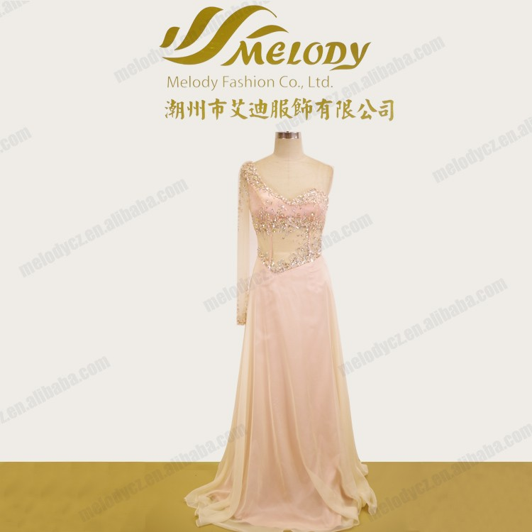 Glamorous sexy waist see through one sleeve beaded backless mother of the bride dress