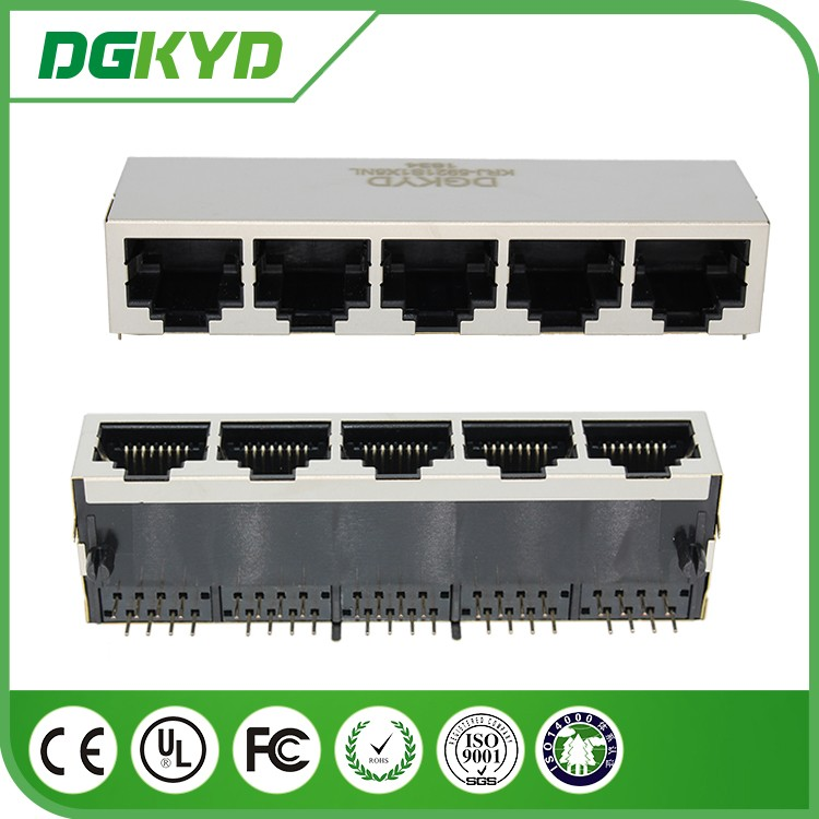 Shielded 5 ports rj45 connector , 1x5 , 8p8c network jack