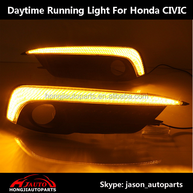 Car Accessories For Honda Civic 2016 LED Daytime running light lamp DRL with Turning function