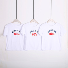 Ladies Casual Simple Loose T-shirt Printing Born In 80 90 <strong>00</strong> Short Sleeve White T-shirts