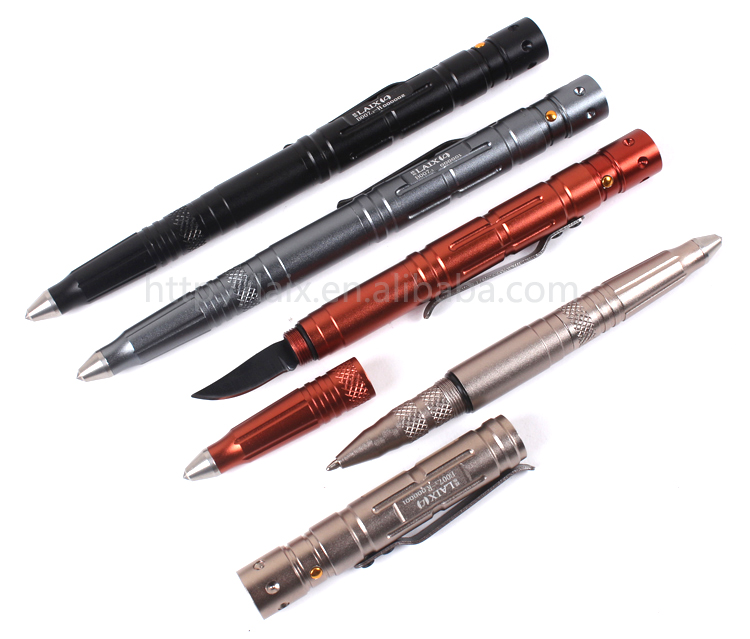 2016 New style multifunction aircraft aluminium Self-Defense tactical pen with led flashlight