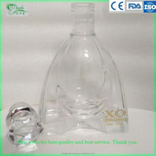 700ml Custom made crystal clear whiskey glass bottle xo brandy