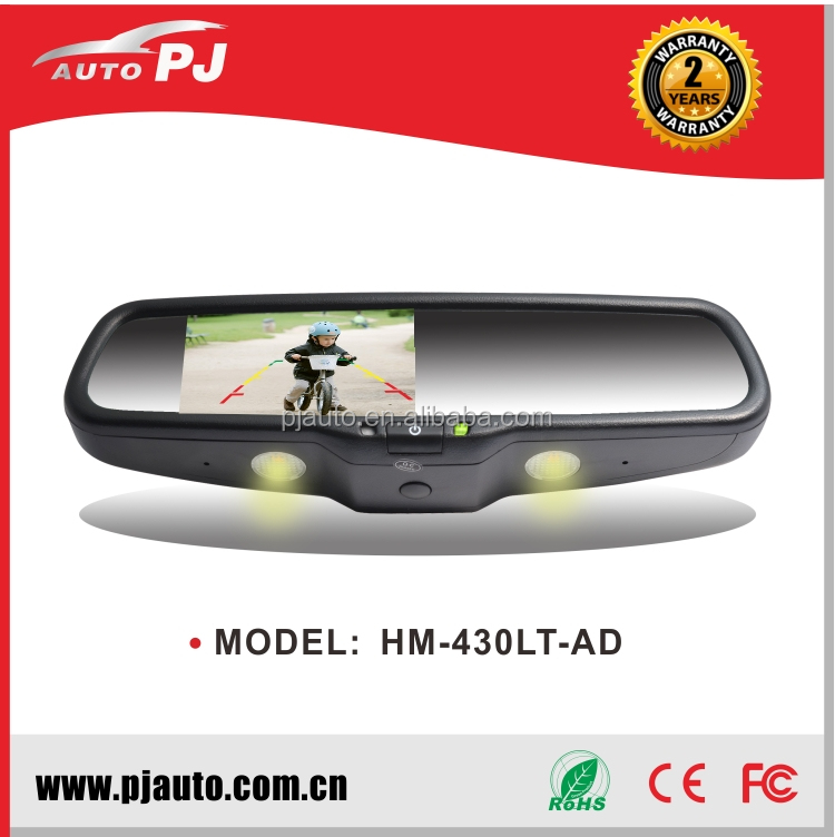 OEM Car Rearview Mirror Monitor Auto Dimming & Light, Specific Interchangeable Bases for Mercedes Sprinter (HM-430LT-AD#91)