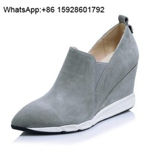 Sheepskin boots Wedge boots Pointed toe Zipper ankle boots women OCA55