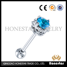 Fashionable crystal tongue ring barbell fancy surgical steel tongue piercing ball