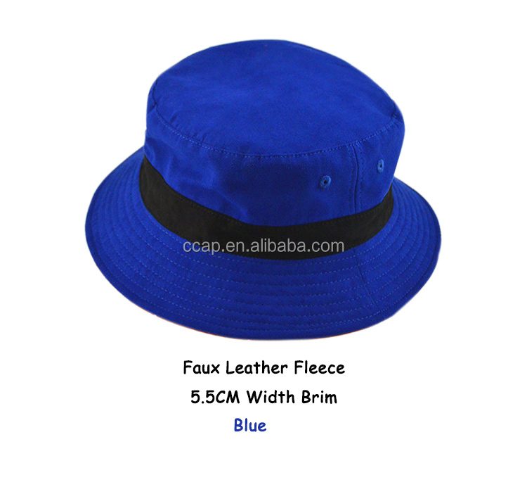 Custom Fancy High Quality Faux Leather Fishing Hat fleece bucket hats