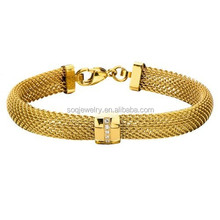 Lucury Gold Plated Stainless Steel Female Open Mesh Bracelet Jewlery