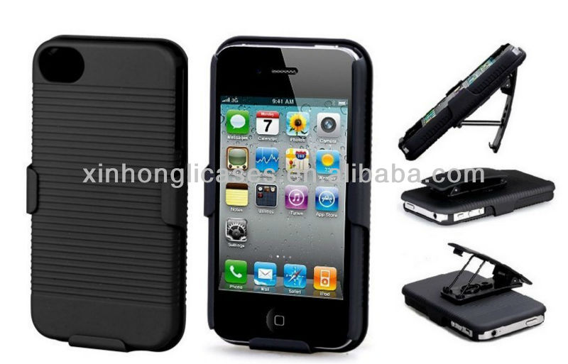 Best selling Hard case cover holster combo swivel belt clip combo stand for iphone 4 4s