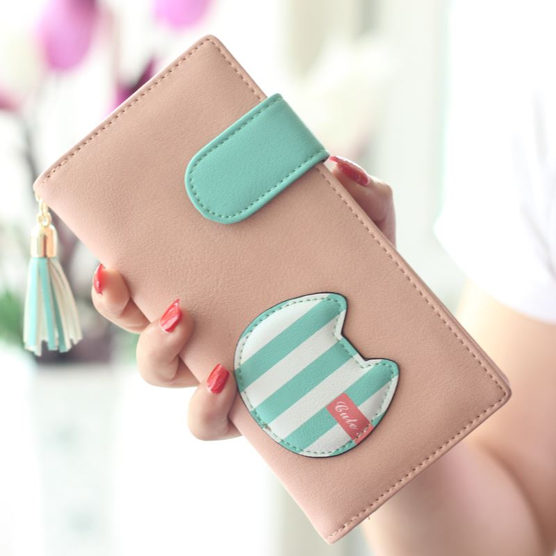 2015 Popular Women Wallet Cute Cats Lady Purse New Design Female Clutch Multicolor Striped Card Holders Fresh Girl Change Purse