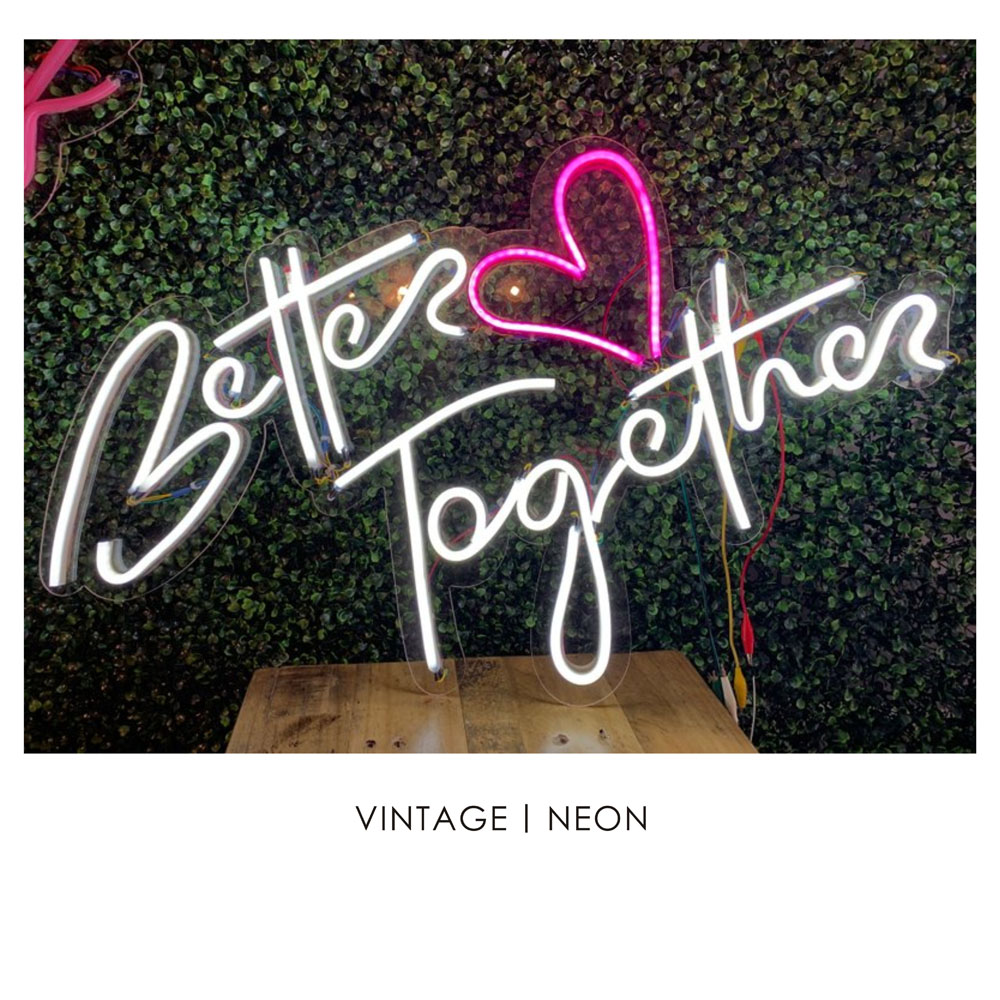 38'' L and 23'' W better together neon led <strong>sign</strong>