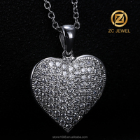 Popular Silver Heart Shape Pendant Necklace for Ladies