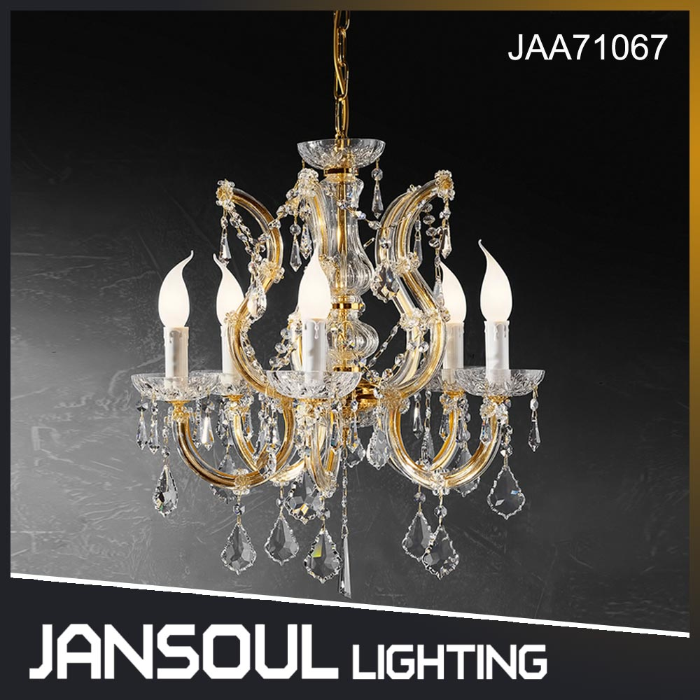 Arabic romantic 5 candle lights elegant small golden crystal wedding decorative chandelier pendant light