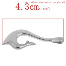 "Stainless Steel Charm Pendants Fish Hook Silver Tone 4.3cm x 1.6cm(1 6/8"" x 5/8""),1 pc,Jewelry"