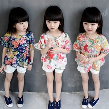 Wholesale High Fashion Child Clothes Children Floral Peony Printing T Shirts For Girls