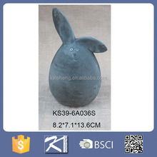 New products 2016 cement egg shape bunny for easter decoration