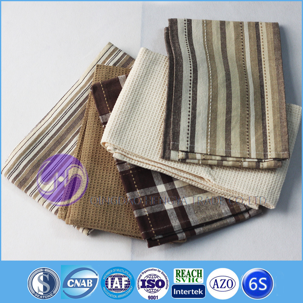 china supplier wholesale yarn dyed 100 cotton waffle weave kitchen towel