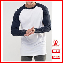 manufacturers china custom casual plain long sleeve two color raglan sleeve t shirt