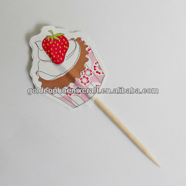 Strawberry Ice Cream Printed Wooden Toothpicks,Toothpicks with Colorful Paper Decoration