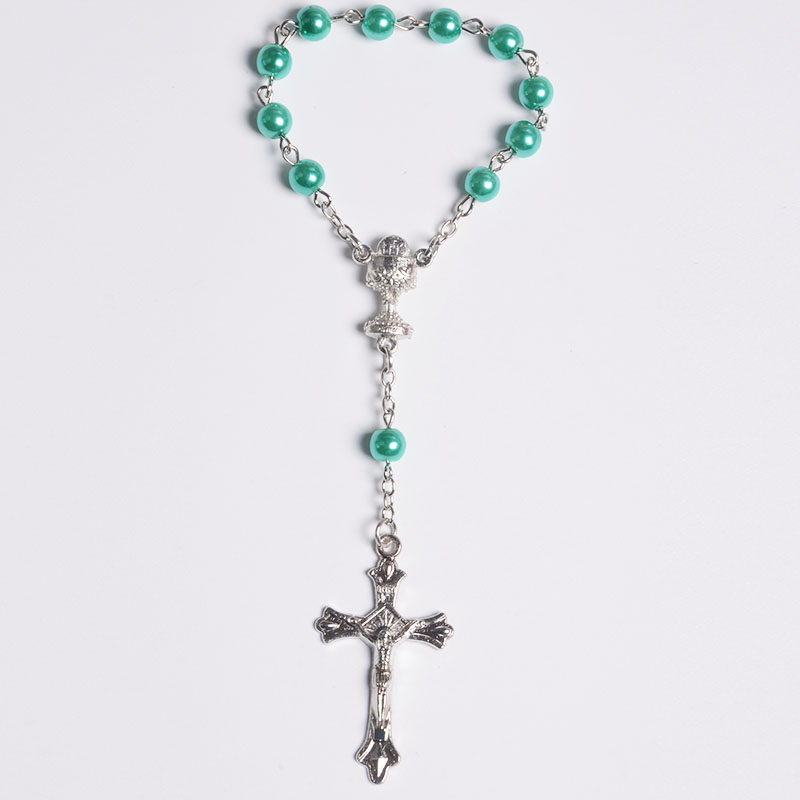 Green Bead Ring Rosary Religious Gifts Catholic Communion Chalice Metal Crucifix Rosary Bracelets