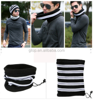 stripe knitted Double layer Neck warmer Beanie scarf