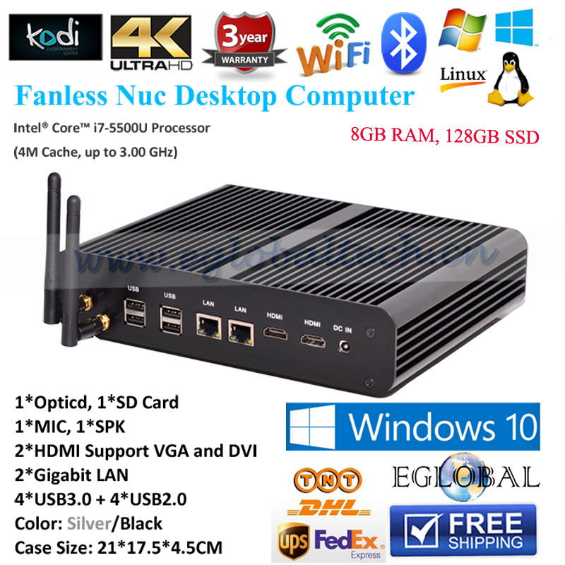3 Years Warranty new Mini PC Windows 7/8.1/10 4GB RAM 256GB SSD Mini Computer i7 ultrathin Mini PCs Fanless Intel i7-5500U 3GHz