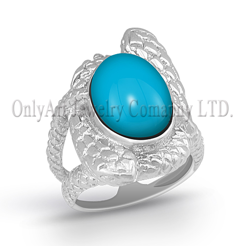 kallaite inlaid and Europe Style jewelry 925 sterling silver ring
