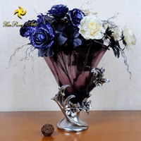 New arrival home decoration glass flower vase with resin, silver glass vase