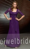 S1223 Elegant ruffle and beading chiffon burgundy mother of the bride dress