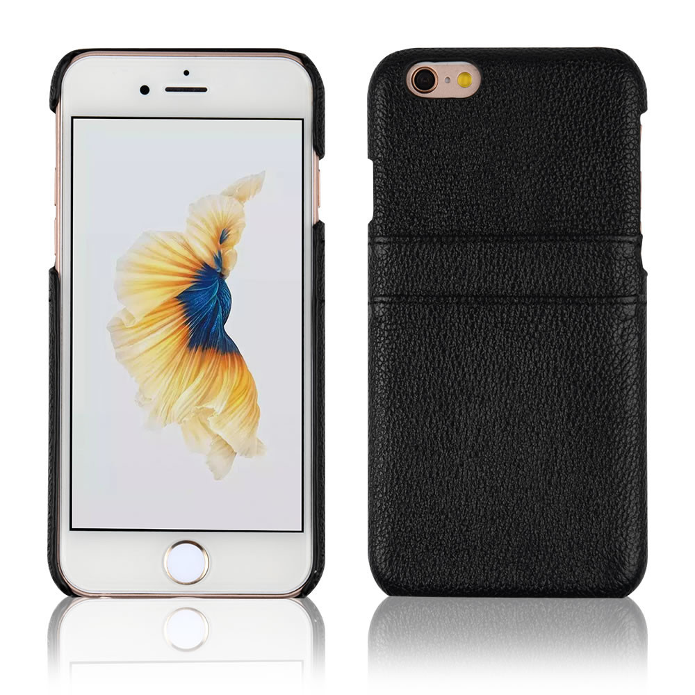 C&T Black VINTAGE CARD SLOT Genuine Leather Wallet Case Ultra Slim Back Cover for iPhone 6 Plus 5.5 inch