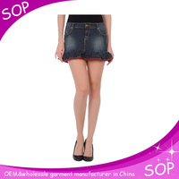 Women denim jeans short mini sexy skirt manufacture in china