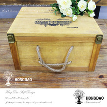 HONGDAO custom design wooden wine 6 bottles packaging box wholesale