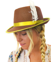 BROWN BAVARIAN HAT OKTOBERFEST WOMENS GERMAN FESTIVAL CAP FANCY DRESS ACCESSORY HT367