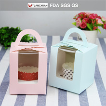 Cute design paper cupcake box with handle