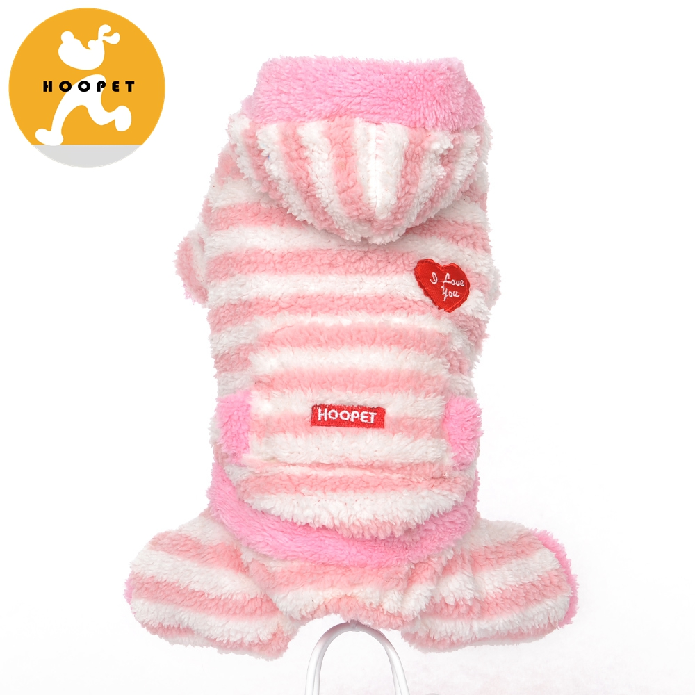 Winter Pink Horizontal Stripes Dog Jumpsuit Clothing