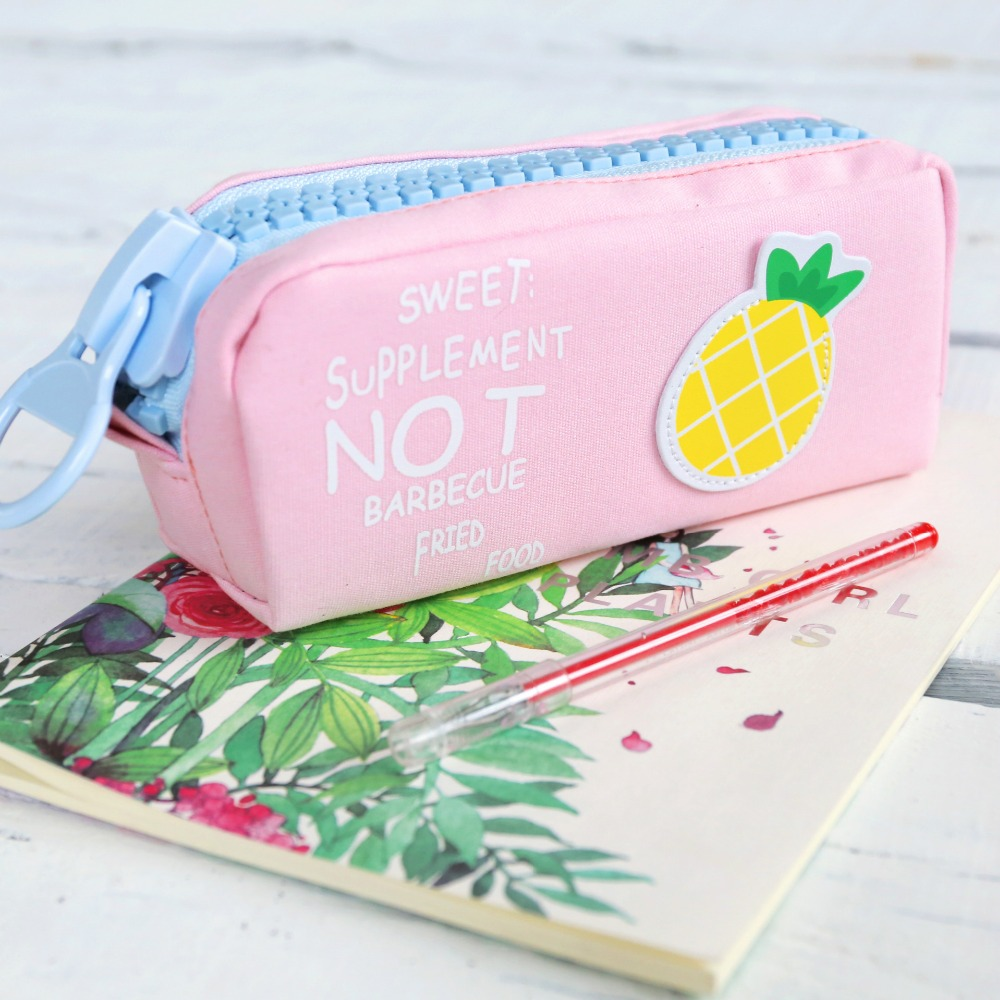 Hot Selling Fruit Printing Canvas Large Zipper School Pencil Case For Teenagers