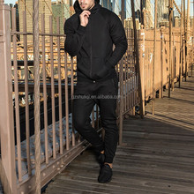 competitive price men's plain cotton hoody sweat suits wholesale jogging suits sport black track suit