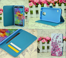 Flower Pattern Series Stand Leather Case For Samsung Galaxy S5 Flip Cover