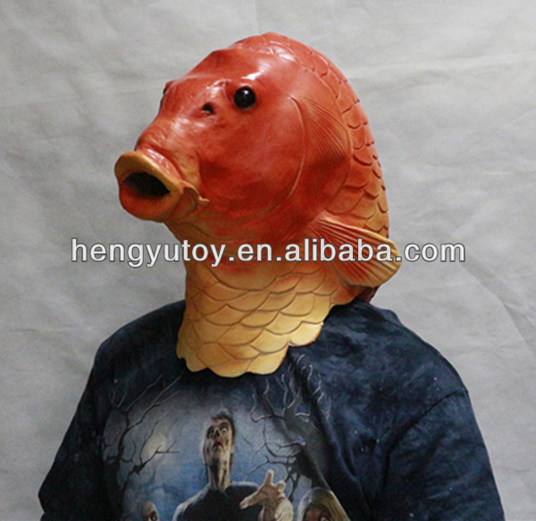 2014 Adult Party Costume Deluxe Design Wholesale Toys latex Fish Mask With realistic appearance