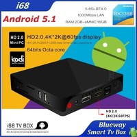 i68 XBMC Kodi RK3368 Android TV Box 5.1 2Gb Ram 16GB Rom H.265 2.4G&5G Dual Wifi 4K Mini PC Octa Core