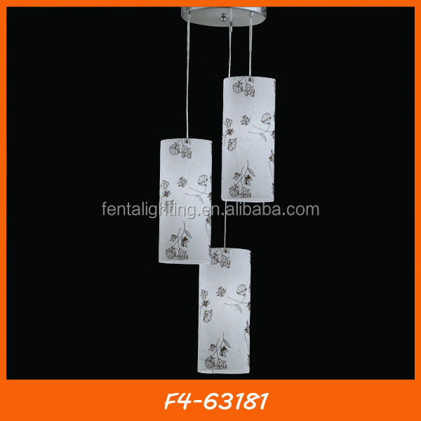 Cylinder shaped fabric classical chandelier traditional pendant lamp F4-63181