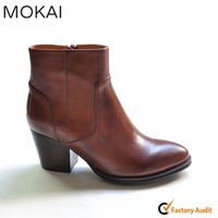 MK217-5 DARK TAN handmade genuine leather girls fashion zipper bootie china factory ankle bootie